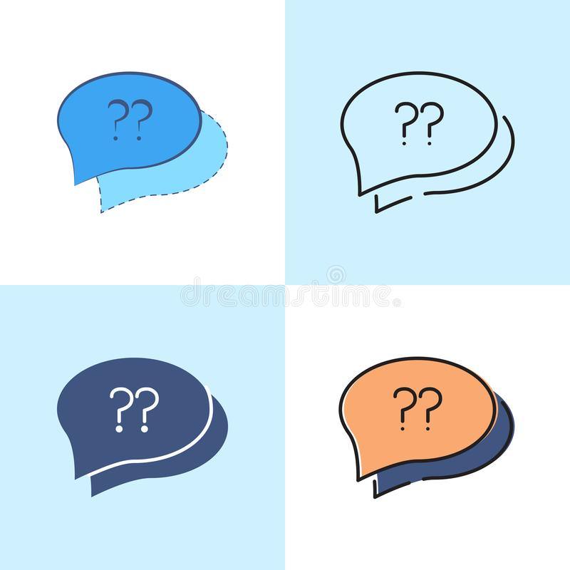Speech bubble with question sign icon set in flat and line style. stock illustration