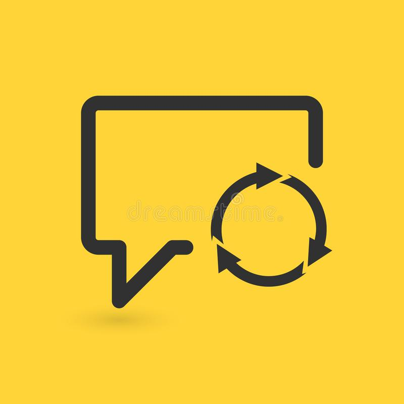 Speech Bubble Refresh icon, three circle arrows. vector illustration isolated on yellow background. vector illustration