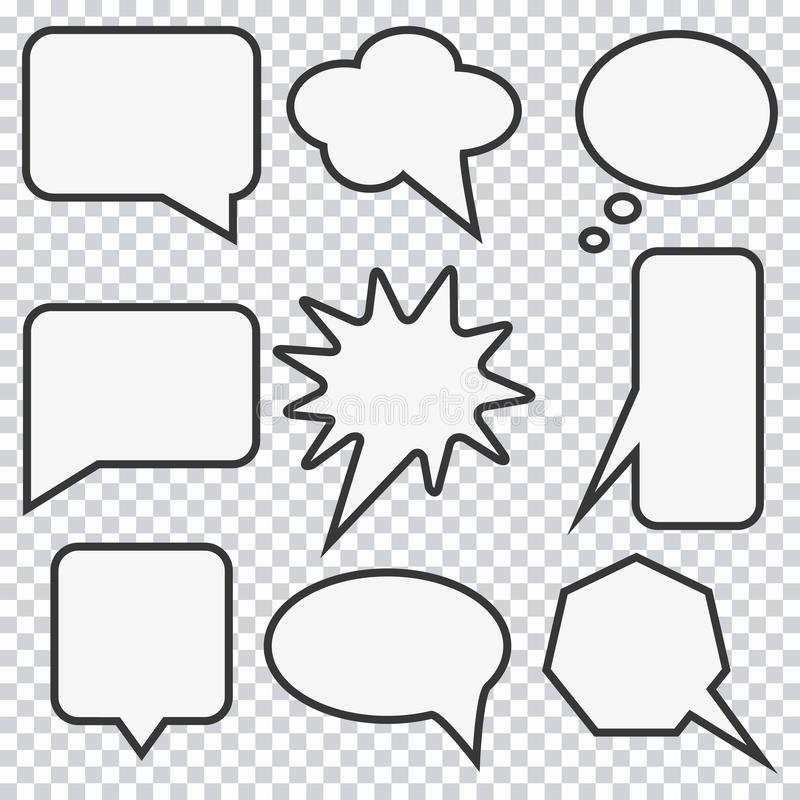 Speech bubble set. Elements for design comic strip. Vector. stock illustration