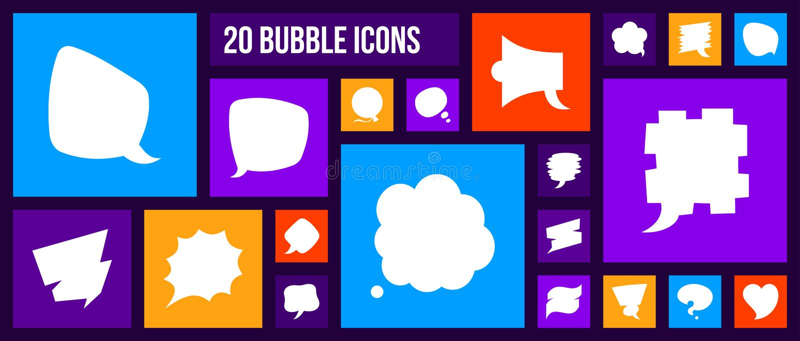 Comic Speech Bubble silhouette icon vector set vector illustration