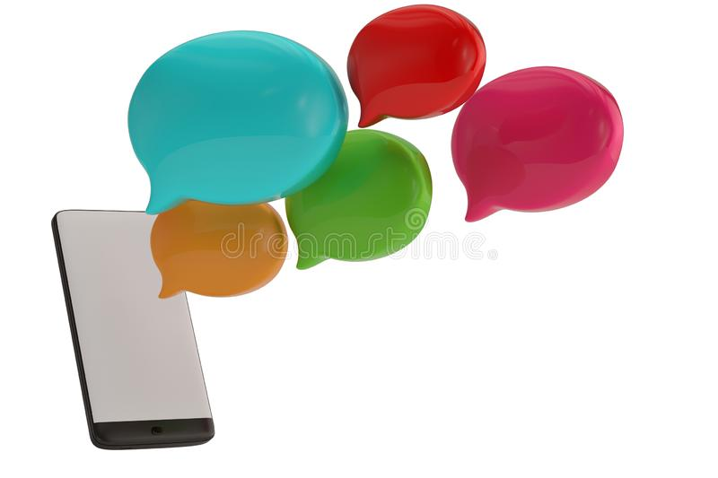 Speech bubble and smart phone isolated on white background. 3D illustration.  royalty free illustration