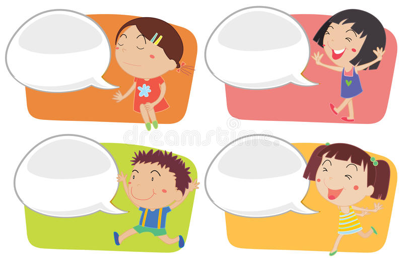 Speech bubble template with happy children royalty free illustration