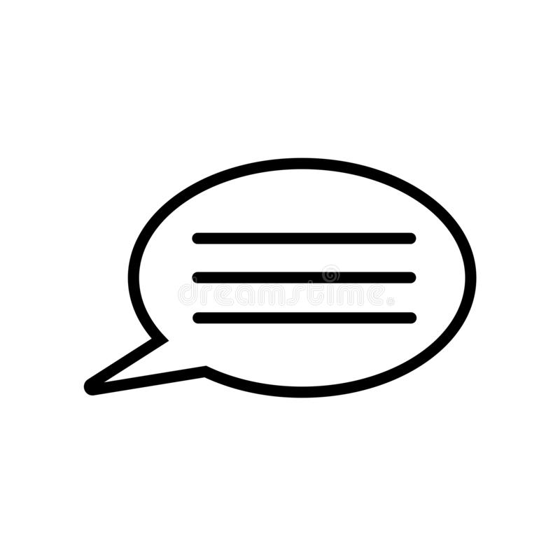Speech bubble with text lines icon isolated on white background stock illustration