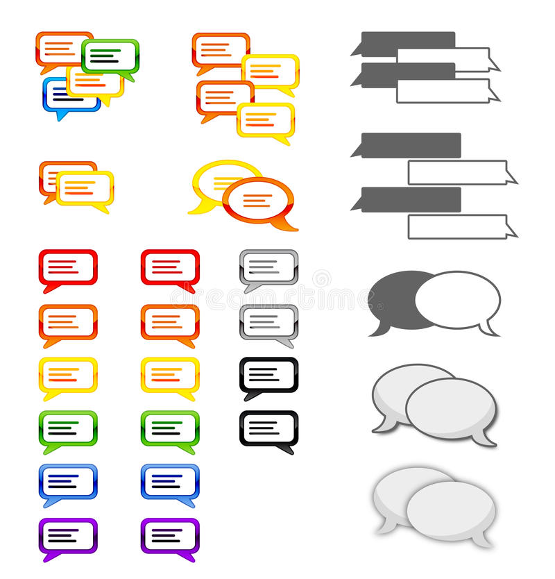 Speech bubbles - vector. A set of speech bubbles in form. Since it is available in vector form as well, it can be scaled in any possible size without losing in royalty free illustration