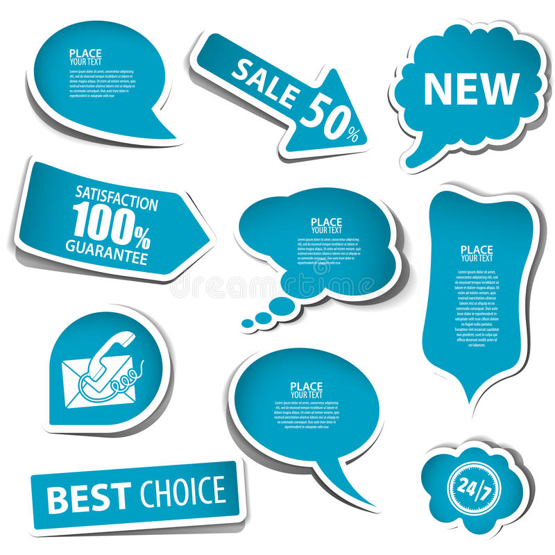 Speech Bubbles. Set of speech and thought bubbles, element for design, vector illustration