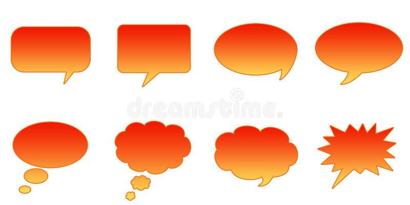 Speech Bubbles. Set Glossy Colourful Speech BubbIe Icons, Internet Web Page Navigation Symbols vector illustration