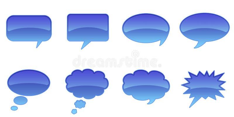 Speech Bubbles. Set Glossy Colourful Speech Bubble Icons, Internet Web Page Navigation Symbols royalty free illustration