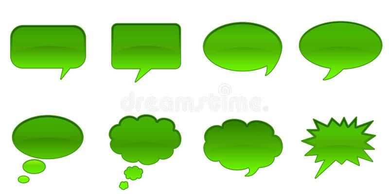 Speech Bubbles. Set Glossy Colourful Speech Bubble Icons, Internet Web Page Navigation Symbols stock illustration