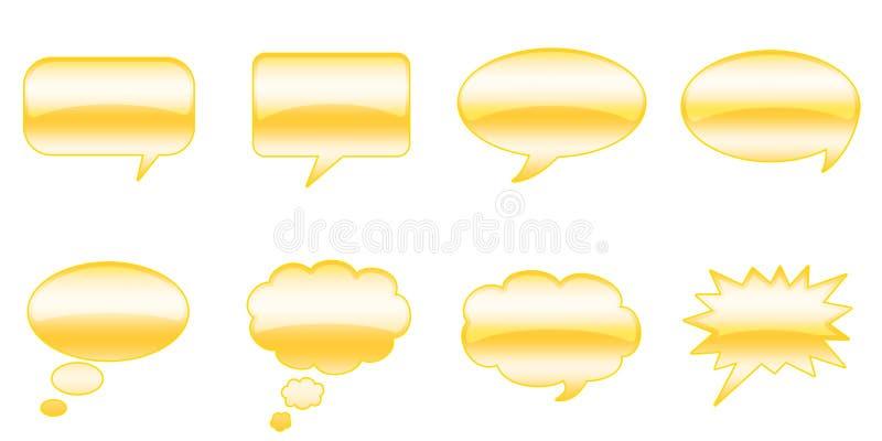 Speech Bubbles. Set Glossy Colourful Speech BubbIe Icons, Comic Symbols royalty free illustration