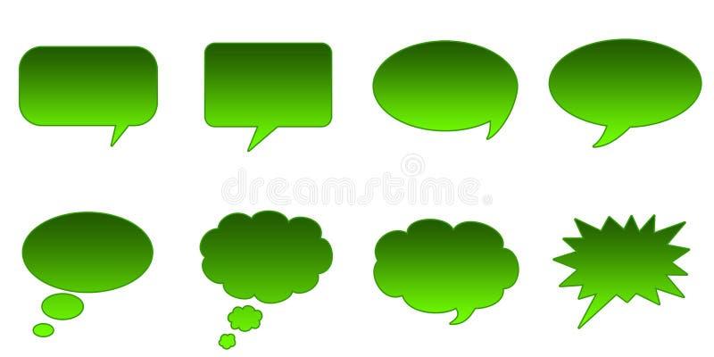 Speech Bubbles. Set Glossy Colourful Speech Bubble Icons, Comic Symbols royalty free illustration