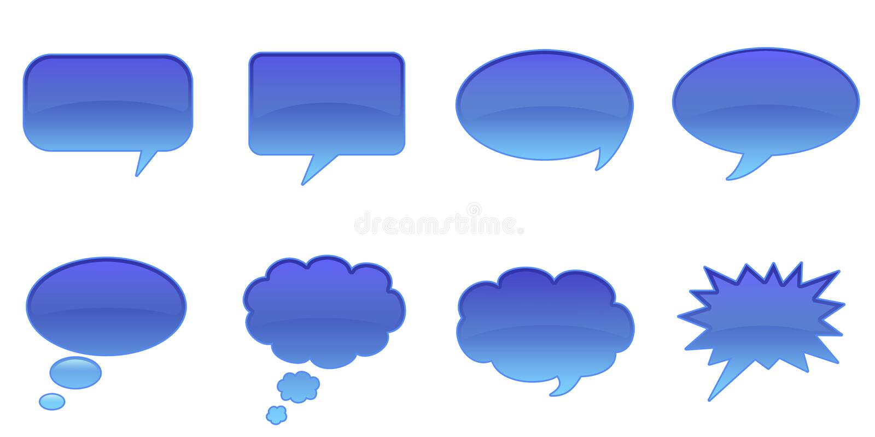 Speech Bubbles. Set Glossy Colourful Speech Bubble Icons, Comic Symbols stock illustration