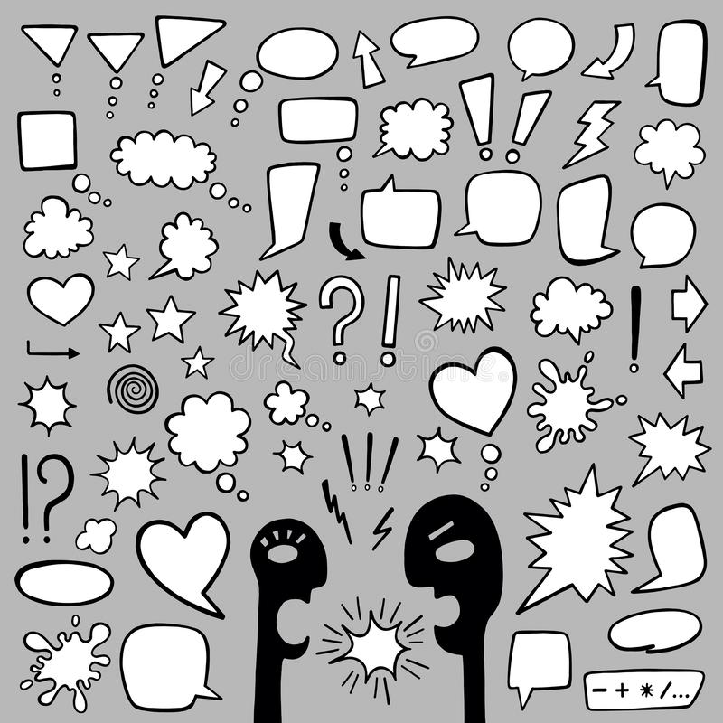 Speech bubbles. Big vector set. Cylinders for text of different shapes. Empty frames for text convey different moods vector illustration