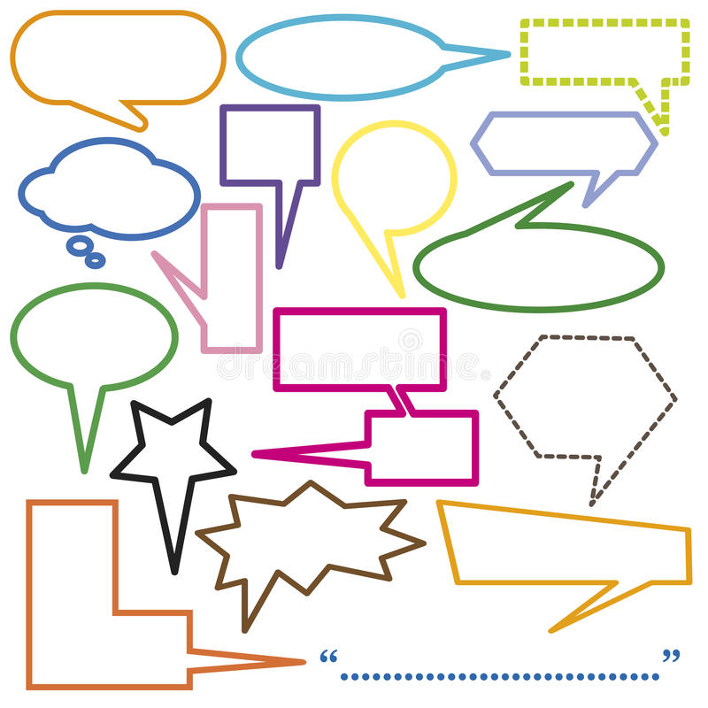 Speech bubbles blank set Isolated On White Background stock photography
