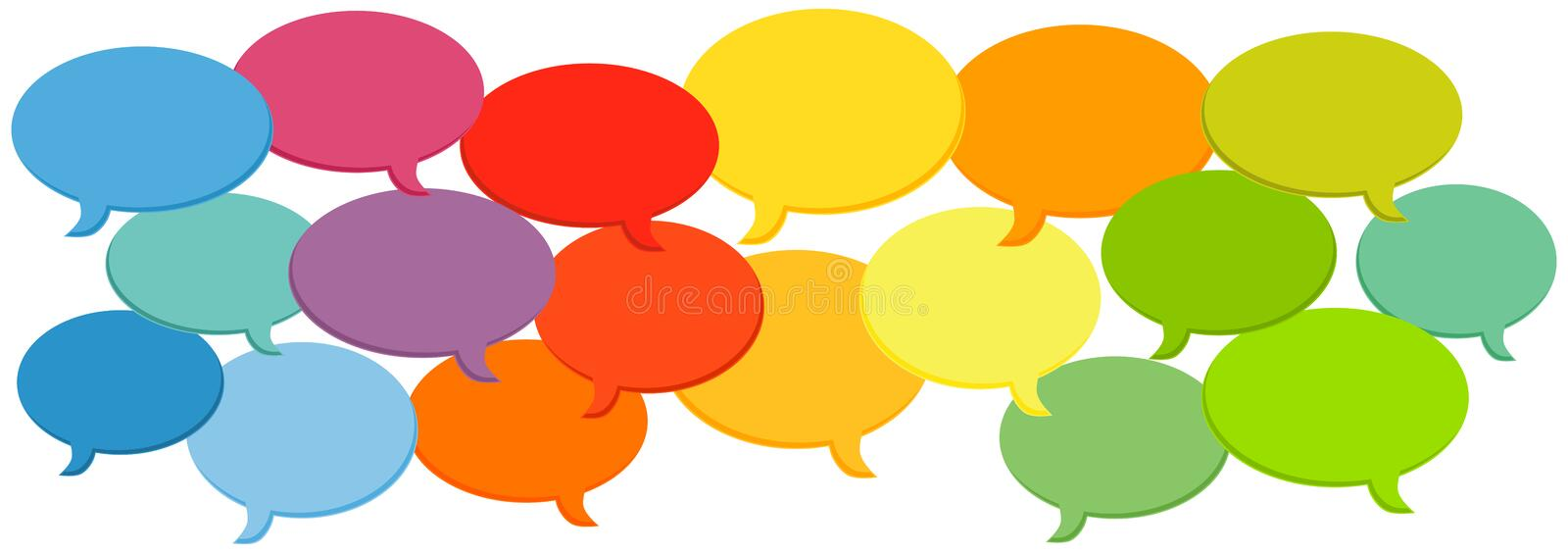 Speech bubbles cloud. Social media speech bubbles cloud background. Various colors for different media or opinions
