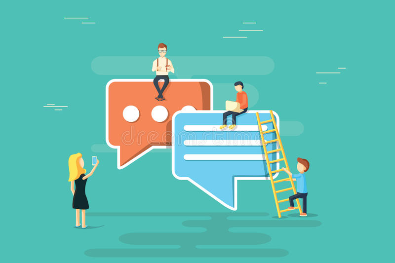 Speech bubbles for comment anf reply concept flat illustration of young people using mobile smartphone stock illustration