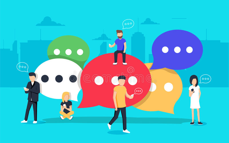 Speech bubbles for comment and reply concept flat vector illustration. Of young people using mobile smartphone and tablets for texting and communicating on royalty free illustration