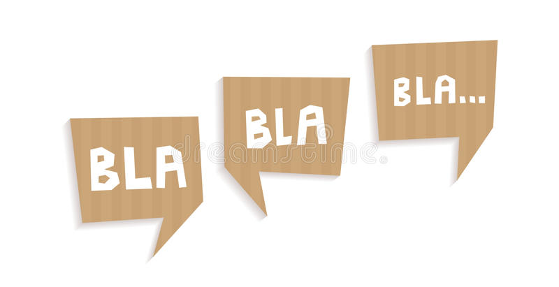 Speech bubbles cut out of carton with words Bla bla bla stock illustration