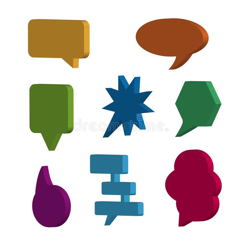 Speech Bubbles 3D Icons Set - Vector Illustration - Isolated On White royalty free illustration