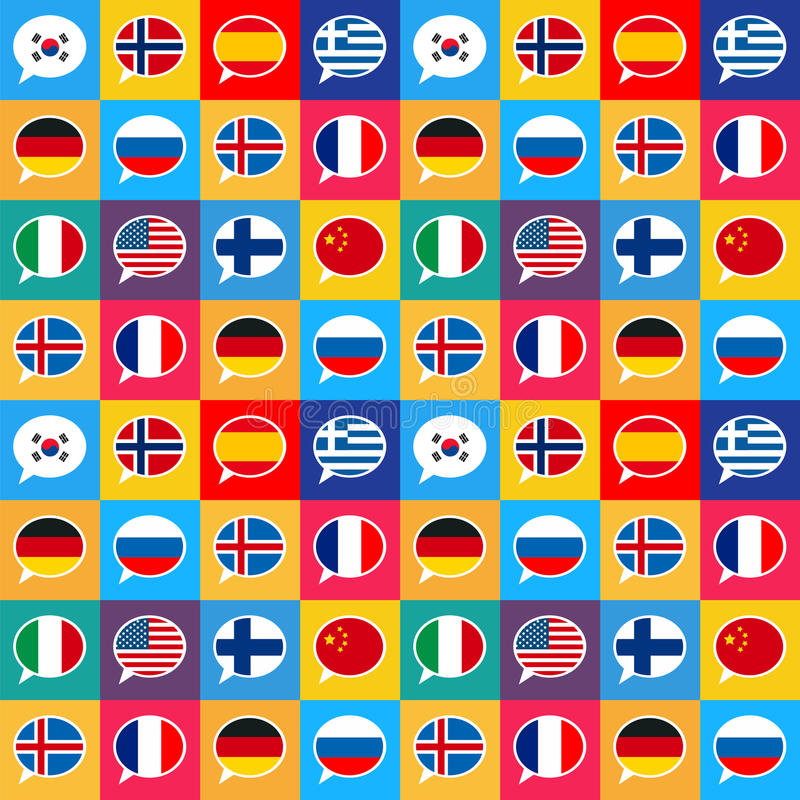 Speech bubbles with different countries flags in flat design style, seamless pattern royalty free illustration