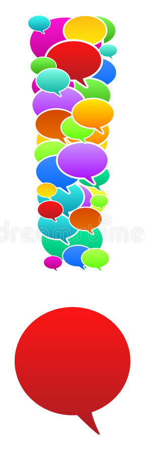 Speech Bubbles In Exclamation Sign Shape royalty free stock photos