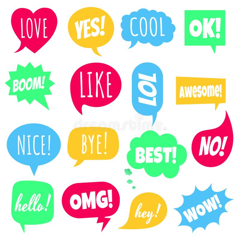 16 Speech Bubbles Flat Style Design Set Another Shapes With Text Love Yes Like Lol Cool Wow Boom Yes Omg Stock Vector Illustration Of Boom Communication 149778559
