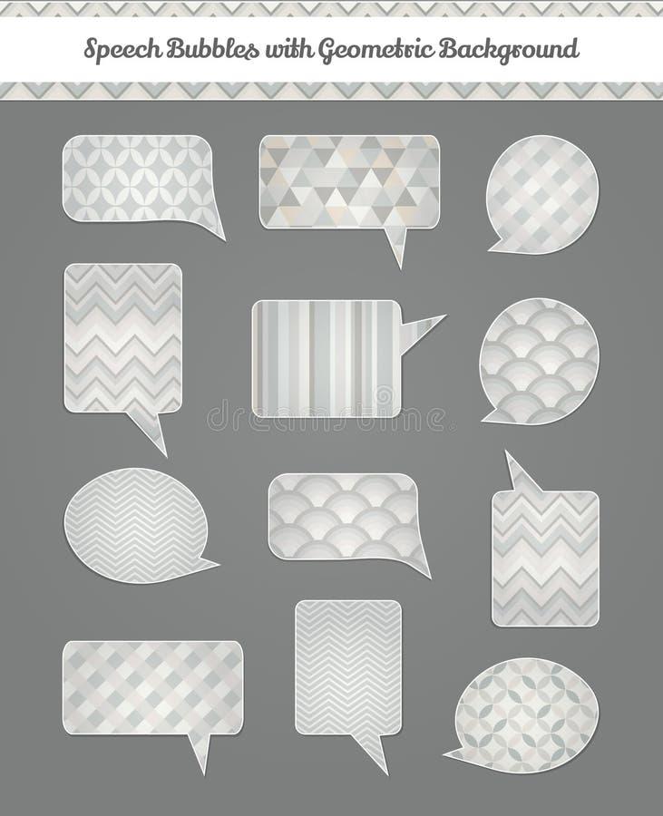 Speech Bubbles with Geometric Grunge Background stock illustration