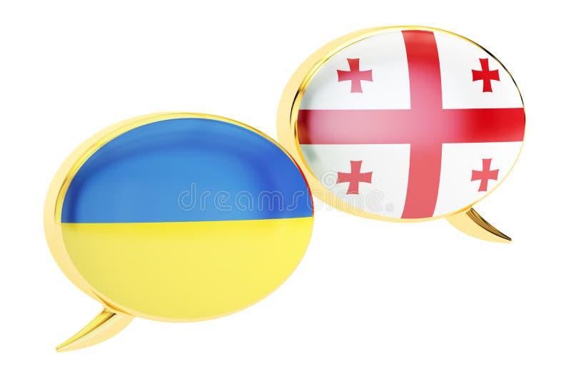 Speech bubbles, Georgian-Ukrainian conversation concept. 3D rend royalty free illustration