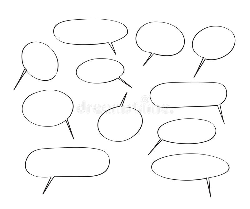 Speech bubbles hand drawn vector set cute illustration royalty free illustration