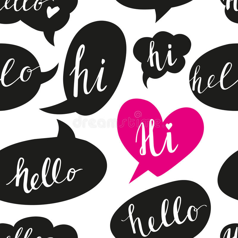 Speech bubbles with Hello word seamless pattern royalty free illustration