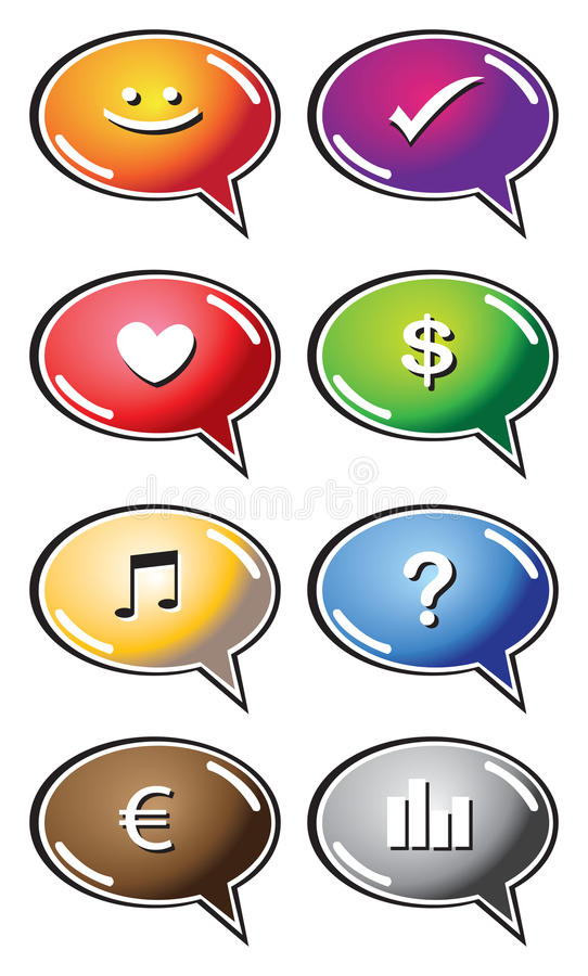 Speech bubbles with icons. Vector speech bubbles with interesting icons vector illustration