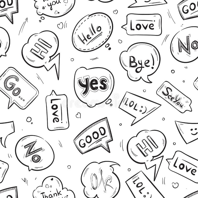 Speech bubbles with internet chat words hand drawn vector seamless pattern royalty free illustration