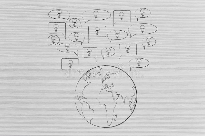 Speech bubbles with light bulbs popping out of planet Earth. Sharing ideas conceptual illustration: speech bubbles with light bulbs popping out of planet Earth stock photos