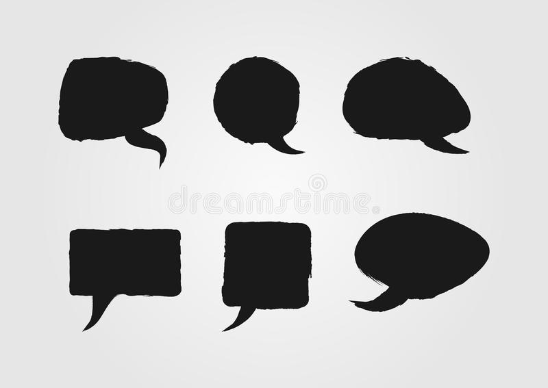 Speech bubbles painted with a rough brush. Sketch, grunge, graffiti. stock illustration