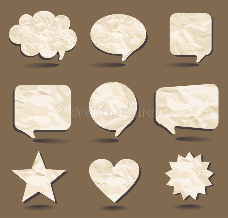 Speech bubbles and sample shapes from the crumpled vector illustration
