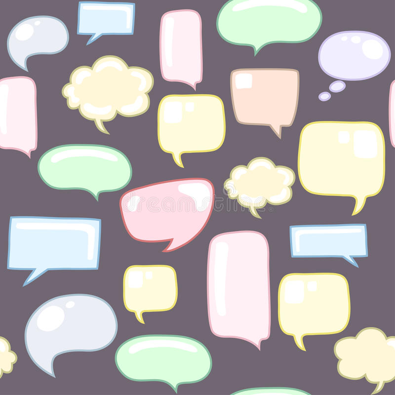 Speech bubbles seamless pattern. Endless texture can be used for printing onto fabric, paper or scrap booking, wallpaper, pattern fills, web page background stock illustration