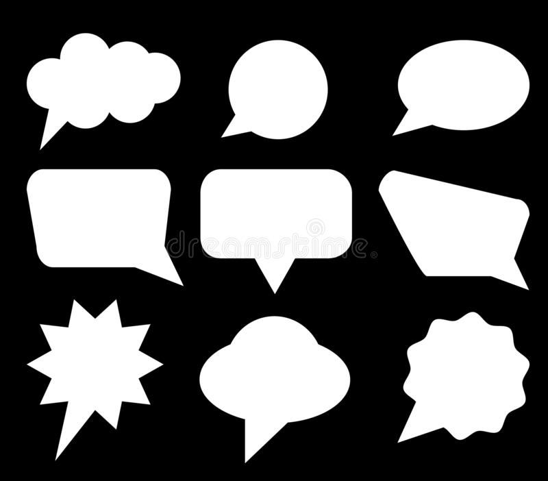 Speech bubbles set. Blue Vector icons isolated. Thought , speech bubble. Dream cloud. Talk balloon. Quote box. Text, information royalty free illustration