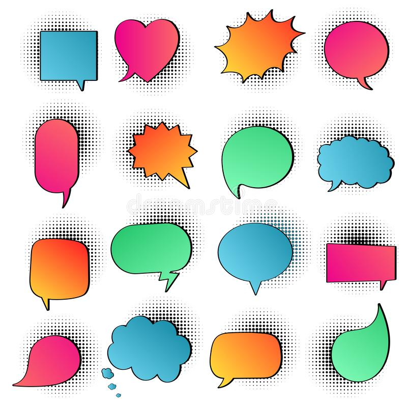 16 Speech bubbles flat gradient style design on halftone no text; love, yes, like, lol, cool, wow, boom, yes... vector illustration