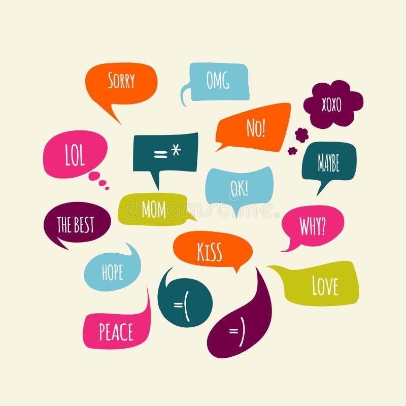 Speech bubbles set with messages. Speech bubbles set with short messages stock illustration