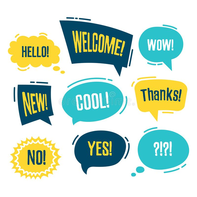 Speech bubbles set with short messages vector illustration