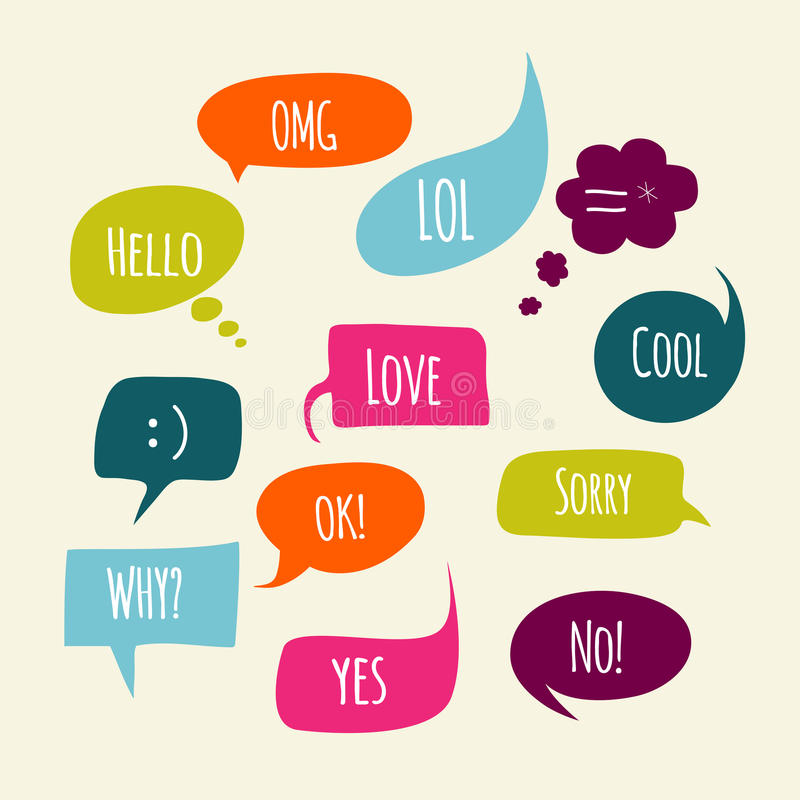 Speech bubbles set with short messages. Vector royalty free illustration