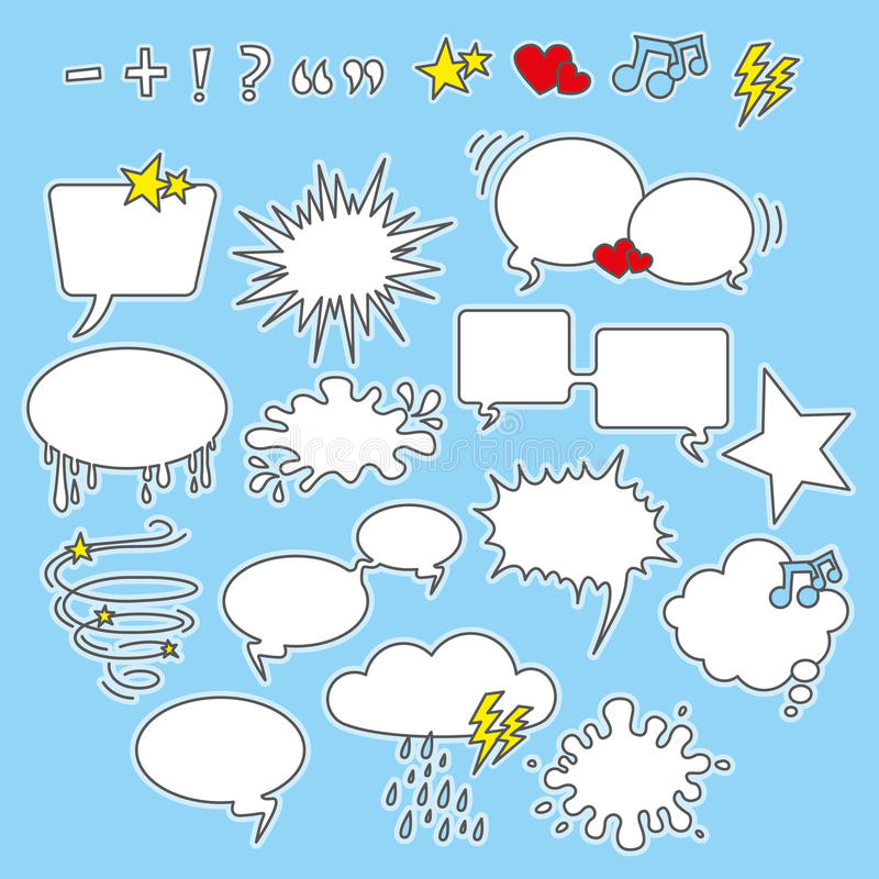 Speech bubbles, shapes and icons stock illustration