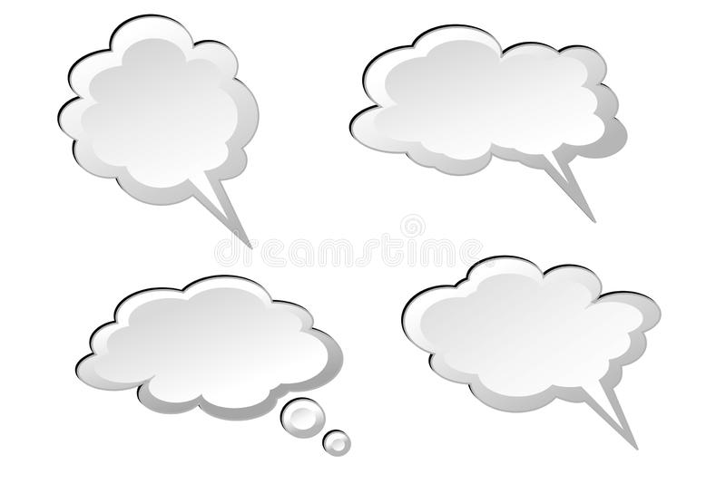 Speech bubbles sign icon on white background. Illustration design. Dialog, sky, think, say, business, set, shape, clouds, collection, cartoon, new, creative royalty free illustration