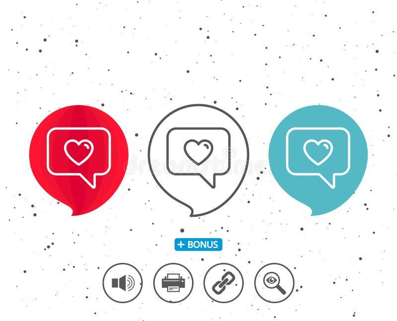 Heart In Speech Bubble Icon Love Symbol Stock Vector