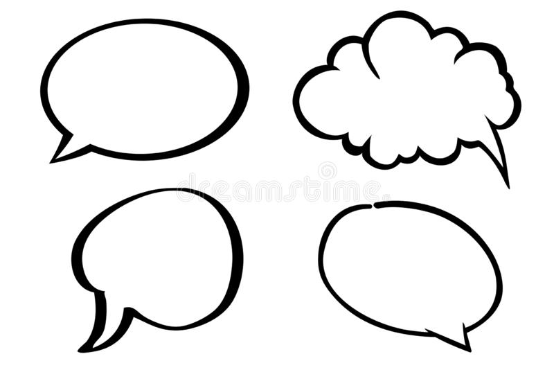 Speech bubbles thinking bubbles icon on white background. Illustration design. Doodle, retro, black, simple, message, communication, messages, flat, symbol stock images