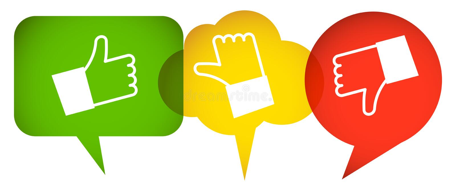 speech bubbles with thumbs up and down royalty free illustration