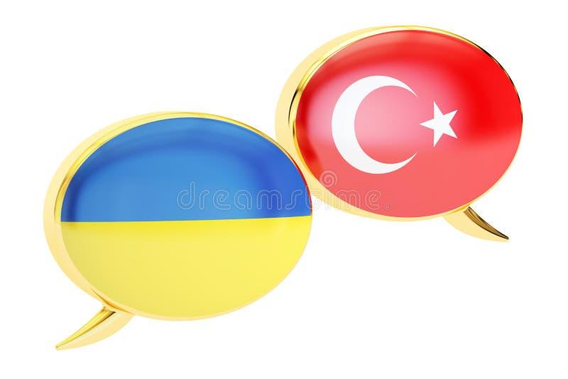 Speech bubbles, Turkish-Ukrainian conversation concept. 3D rendering stock illustration