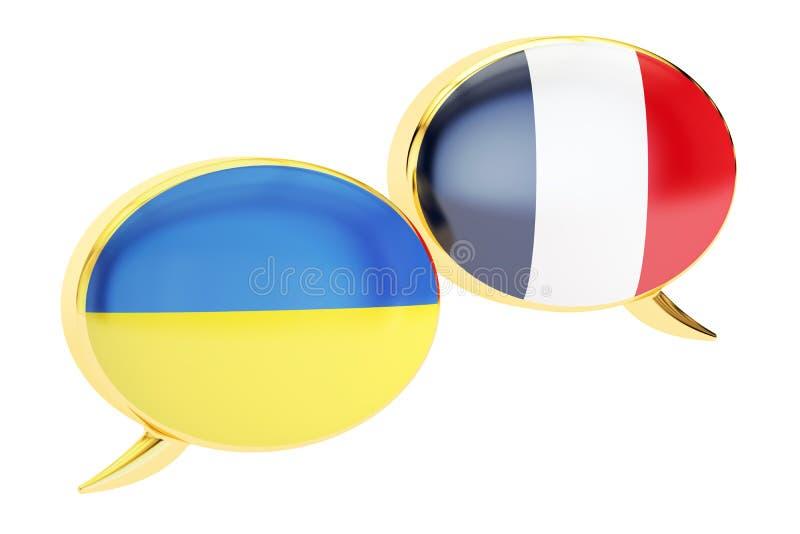 Speech bubbles, Ukrainian-French translation concept. vector illustration