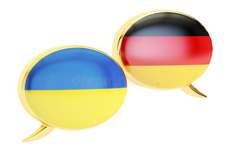 Speech bubbles, Ukrainian-German translation concept. 3D rendering vector illustration