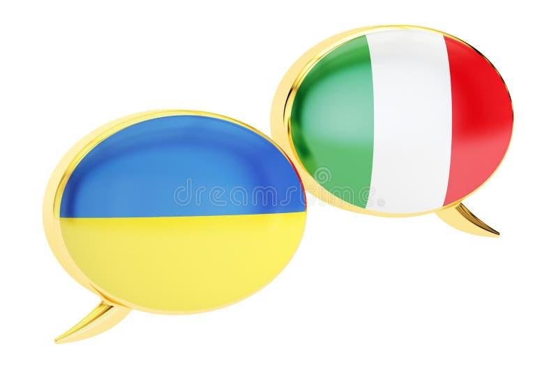 Speech bubbles, Ukrainian-Italian translation concept. 3D render stock illustration