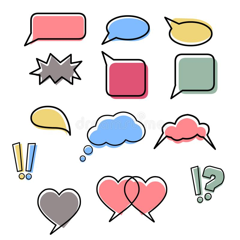 Speech bubbles vector collection on white background stock illustration